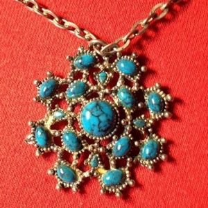 "14"" Turquoise Costume Jewel Pendant 1-1/2"" Silver"